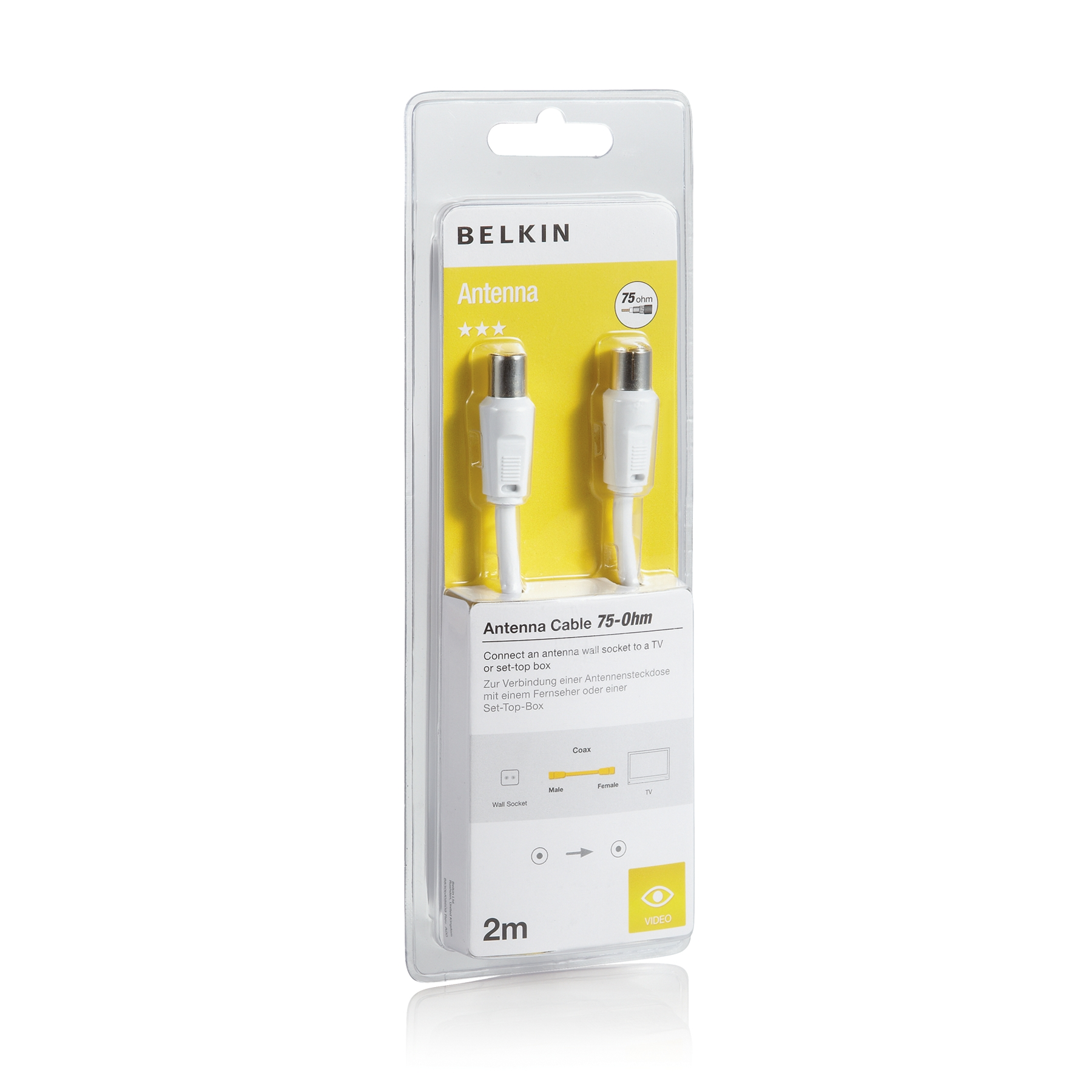 Belkin 75dB Antenna Coax Cable 2m White