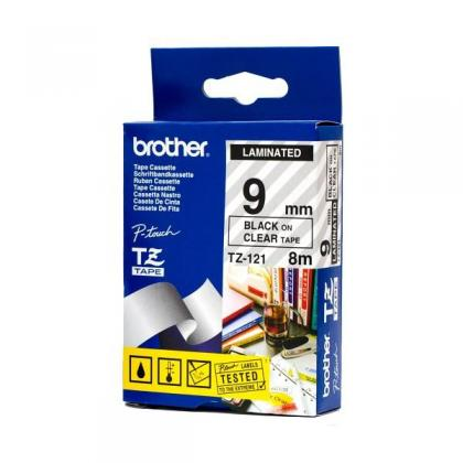 Brother TZE-121 laminált P-touch szalag (9mm) Black on Clear - 8m