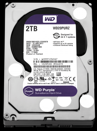 Western Digital 2TB 5400rpm SATA-600 64MB Purple WD20PURZ