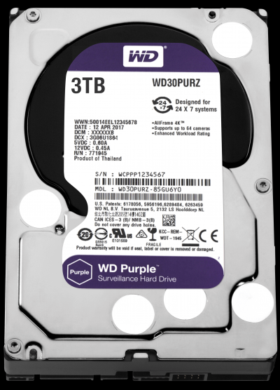 Western Digital 3TB 5400rpm SATA-600 64MB Purple WD30PURZ