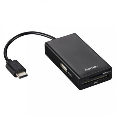 Hama USB2.0 Type-C Hub / Card Reader for Smartphone / Tablet / Notebook / PC