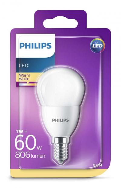 Philips LED luster 7-60W P45 E14 827 FR ND