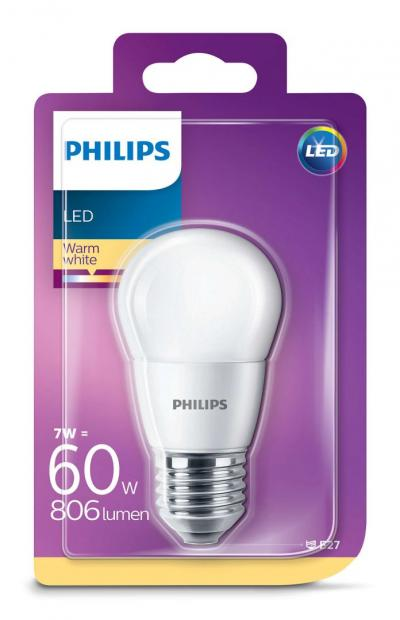 Philips LED luster 7-60W P45 E27 827 FR ND