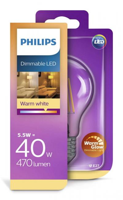 Philips LEDClassic bulb 5.5-40W A60 E27 827 CL WarmGlow SRT