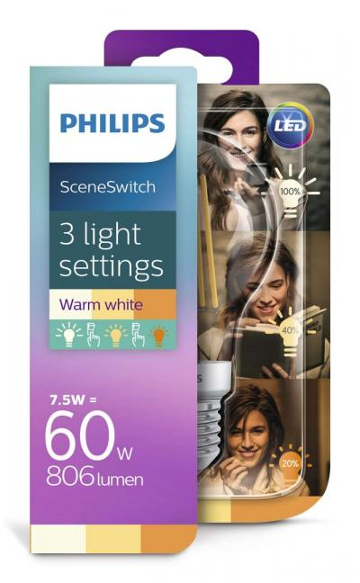 Philips LEDClassic bulb 7.5-60W A60 E27 827 CL ND Sceneswitch