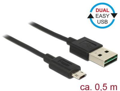 DeLock EASY-USB 2.0 Type-A male > EASY-USB 2.0 Type Micro-B male 0,5m cable Black