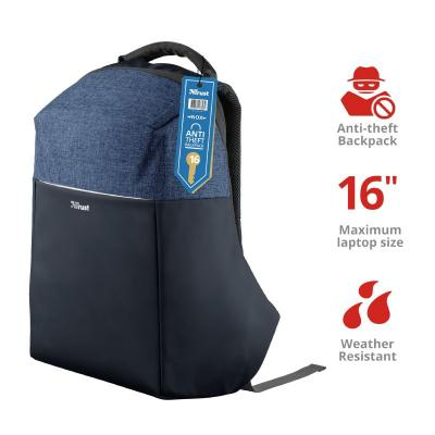 """Trust Nox Anti-theft Backpack for 15,6"""" laptops Blue"""