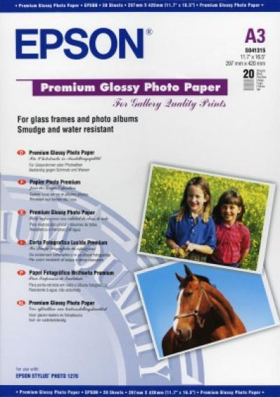 Epson Premium Glossy Photo Paper, DIN A3, 255g/m?, 20 Sheet