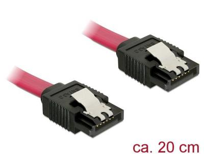 DeLock Cable SATA 6 Gb/s male straight > SATA male straight 20cm Red Metal
