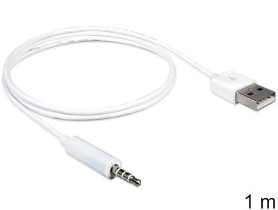 DeLock Cable USB-A male > Stereo jack 3.5 mm male 4 pin IPod Shuffle 1m