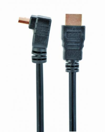 Gembird CC-HDMI490-10 HDMI High speed 90 degrees male to straight male connectors cable 19 pins gold-plated connectors 3m bulk package