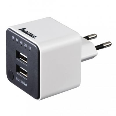 Hama 2xUSB Charger with Countdown Function 2.4A White