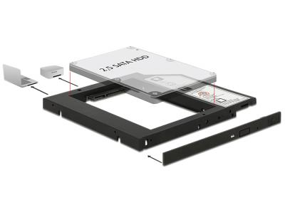 "DeLock Slim SATA 5,25"" Installation Frame for 1 x 2,5"" SATA HDD up to 9,5mm"