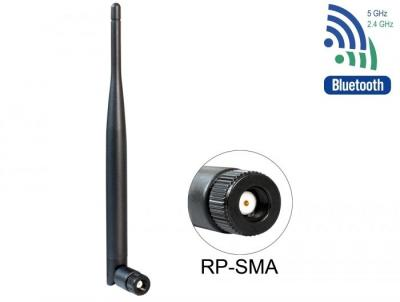DeLock WLAN 802.11 ac/a/b/g/n Antenna RP-SMA plug 4 - 5 dBi omnidirectional with tilt joint Black