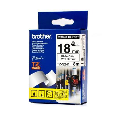 Brother TZE-S241 Strong laminált P-touch szalag (18mm) Black on White - 8m