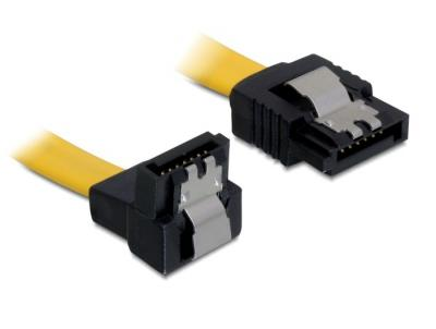DeLock cable SATA 50cm down/straight metal Yellow