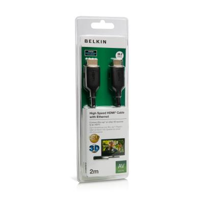 Belkin HDMI-HDMI High Speed with Ethernet Cable 2m Gold Connector Black