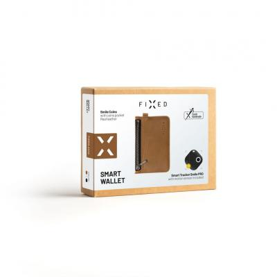 FIXED Leather wallet Smile Coins with smart tracker Smile PRO, brown