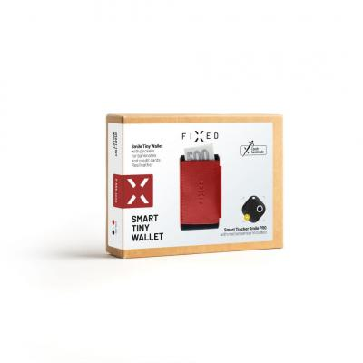 FIXED Leather wallet Smile Tiny Wallet with smart tracker Smile PRO, red