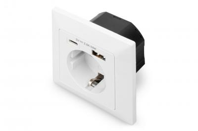 Digitus Wall Outlet 1x Safety Outlet,1x USB,1x Type C