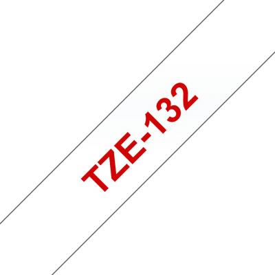 Brother TZe-132 laminált szalag (12mm) Red on Clear - 8m