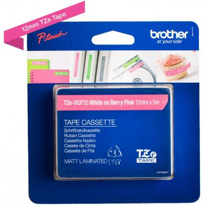 Brother TZE-MQP35 laminált P-touch szalag (12mm) White on Berry Pink - 5m
