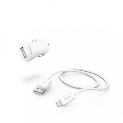 Hama Car Charger 2,4A with Lightning->USB Cable White
