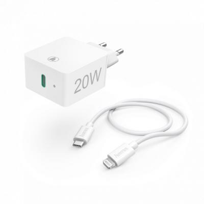 Hama Charger 20W with Lightning->USB Type-C Cable (Apple Quick Charge Kit) White